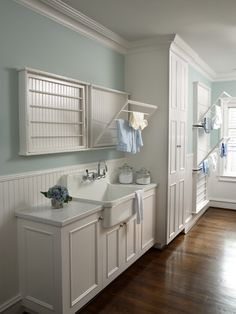 Laundry room Design- Rabaut Design via House of Turquoise via Centsational Girl Drying Rack Laundry, Laundry Room Storage, Laundry Room Design, Laundry In Bathroom, Small Laundry, Laundry Closet, Basement Laundry, Downstairs Bathroom, White Bathroom