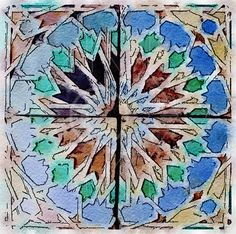 Printable Art, Instant Download, DIY Print At Home, Art Print, Watercolor, Old Geometric Mosaic Tile Blue Brown by edeblas on Etsy