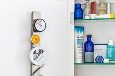 Tack one of these knife racks onto the back of the medicine cabinet door to hold clippers, tweezers, lip-balm tins, and other tiny metal objects. From @IKEAUSA