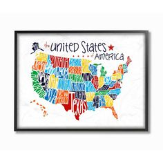 printable map of the USA in color bw and blank with capitals etc