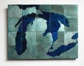 Great Lakes etched metal map