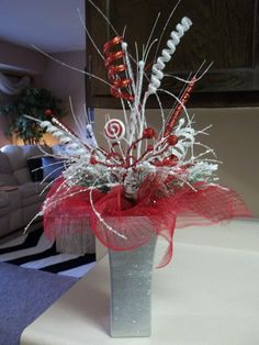 """PEPPERMINT EXPLOSION"" - Festive Holiday Tabletop Centerpiece Decoration by DecorClassicFlorals, $89.95"