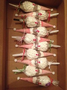 SANTA COCOA CONES::  • Crushed Peppermint-Christmas Hats (Candy canes, food processor work fine) into pointed end of disposable bag. • 1-2 rows of compact