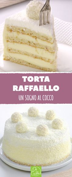 Torta Raffaello: un sogno al cocco. #raffaello #cocco #lattecondensato #ricettedolci #dessert #torta #pandispagna #panna #mandorle #cioccolatobianco Mini Desserts, Dessert Recipes, Croissant Recipe, Torte Cake, New Cake, Let Them Eat Cake, No Bake Cake, Cake Decorating, Sweet Treats