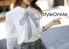 Ribbon Embroidered Blouse #womenstyle #autumnfashion #blouse