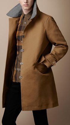 Burberry - BONDED CANVAS CONTRAST COLLAR COAT