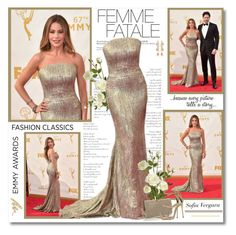 """""""Sofia Vergara at 67th Annual Emmy Awards!!"""" by lilly-2711 ❤ liked on Polyvore featuring OKA, Ben-Amun, Urban Decay, Jimmy Choo and Giuseppe Zanotti"""