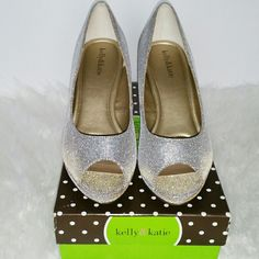 "SALE Kelly & Katie Golden Sparkling Heels Gorgeous Kelly & Katie Golden Sparkling Heels. 3"" Heel Perfect for Wedding or any Special Occasion worn once Like New Kelly & Katie Shoes Heels"