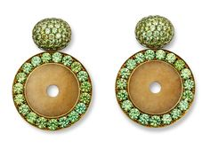 Hemmerle earrings | garnets – jade – white gold -brass.