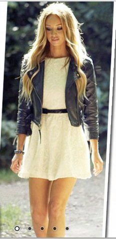 Lace Cream Dress with leather jacket.