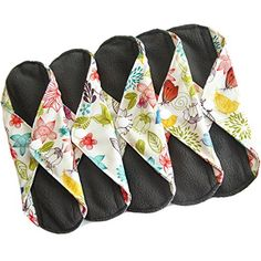 Sanitary Reusable Cloth Menstrual Pads by Heart Felt. XL Cloth - 3 Pack Washable Sanitary Napkins with Charcoal Absorbency Layer - Overnight Long Panty Liners for Comfort and Support Media Panty, Period Party, Reusable Menstrual Pads, Sanitary Napkin, Cloth Pads, Wet Bag, Pretty Patterns, Felt Hearts, Day Use