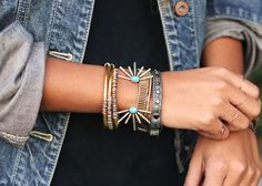 what-do-i-wear:    Jacket:Gap(similarhere,here+here)| Bracelet:the Two Bandits,Vanessa Mooney,Jcrew,American Eagle(image:sincerelyjules)