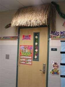 Image detail for -Front door-Jungle theme tiki hut Jungle Theme Classroom, Classroom Door, Classroom Themes, Luau Theme, Safari Theme, Hawaiian Theme, Safari Bulletin Boards, Jungle Door, Jungle Decorations