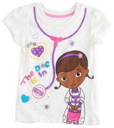 Disney Doc McStuffins Girls Short Sleeve Stethoscope Graphic t Shirt 7 /8 10/ 12 #Disney #Everyday
