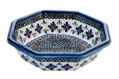 Large Octagonal Bowl - Blue Rose Pottery - Polish style pottery