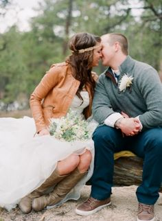 leather jacket & boots for fall bride