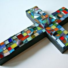 Stained Glass Mosaic Cross Wall Hanging - Square Iridescent Focal - Multicolored