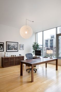 Remarkable L Shaped Desk IKEA for Contemporary Home Office: Home Office For Modern Home With L Shaped Desk Ikea And Glass Walls Also Globe Chandelier With Sideboard And Wood Flooring