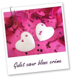 Galet coeur blanc crème Aroma-Zone