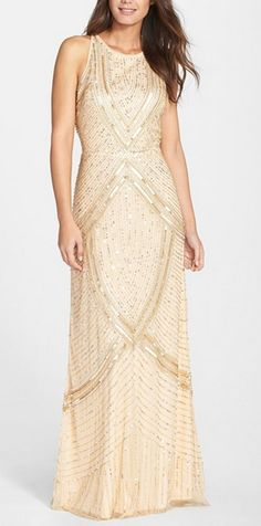 Light Gold Embellished Mesh Gown by Aidan Mattox