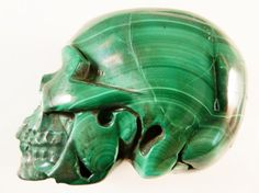 Malachite Skull 2 Inch Realistic Carved Stone by SandiLaneFineArt
