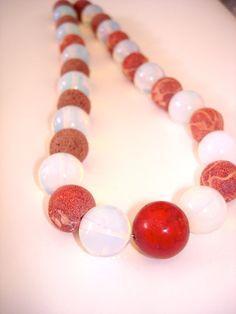 Gorgone and Opaline Beads Necklace by CarolinaHydra on Etsy, $40.00