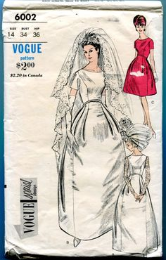 Vogue Special Design 6002 Brides Bridesmaid Evening Dress Gown Vintage Wedding Sewing Pattern Misses Size 14 Bust 34