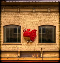 The Little Red Hen is a casual apparel & gift shop in downtown McKinney Texas. It's best know for the wind-up red hen on the outside of the building.