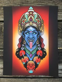 "KALI print by Nick ""Deadmeat"" Keiser- Neotraditional - Tattoo Artist - Art - Home Decor - Nerdy - Best of Wallpapers for Andriod and ios Maa Kali Images, Kali Tattoo, Kali Ma, Kali Goddess, Viking Tattoo Design, Sunflower Tattoo Design, Cover Up Tattoos, Neo Traditional Tattoo, Horror Art"