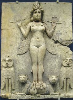 The Queen of the Night. An ancient Mesopotamian goddess, possibly Ishtar, goddess of sexual love and war, or perhaps her sister and rival Ereshkigal, who ruled the underworld. This plaque of baked clay tempered with straw was originally painted, with the goddess in red. She holds the rod and ring of justice, with the entire scene atop a scaly pattern representing mountains. It was originally housed in a small shrine. Babylonian, 18th Century BC. The British Museum