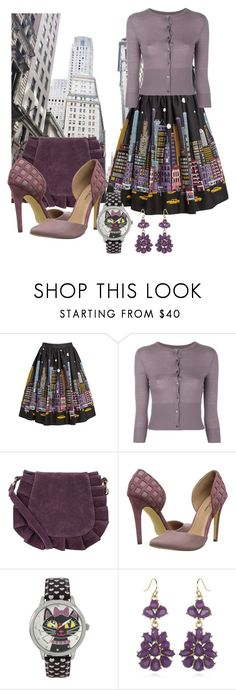 """""""New York print skirt"""" by wickedangel ❤ liked on Polyvore featuring N.Peal, Monsoon, Michael Antonio, Betsey Johnson and Chameleon Jewelry"""