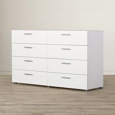 Zipcode Design™ Dendron 8 Drawer Double Dresser & Reviews | Wayfair Girl Dresser, Long Dresser, Malm Dresser, 8 Drawer Dresser, Double Dresser, Bedroom Dressers, Dresser With Mirror, Bedroom Furniture, Home Furniture