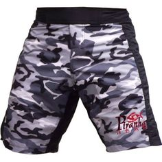 """MMA Fight Shorts for Grappling #8 Camo Gray - Large by Piranha Gear. $37.99. Camo gray fight shorts, ideal for submission wrestling and MMA. With a Spandex/Lycra flex panel running through the inside of the legs and groin, they stretch easily. These shorts are SUPER comfortable. It also means they don't have to be as """"baggy"""" to allow the same freedom of movement. They also have an internal drawstring, velcro closure on the front/fly. These shorts are made of 80% p... Submission Wrestling, Fight Shorts, Mma Gear, Freedom Of Movement, Muay Thai, Martial Arts, Camo, Running, Legs"""