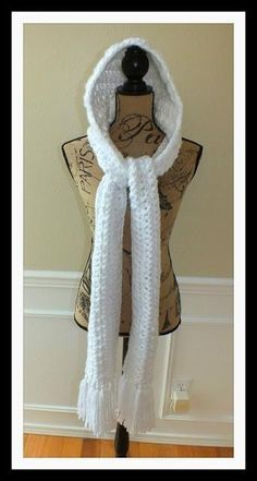 Crochet Scarf Ideas Name: 'Crocheting : Free Hooded Winter Scarf White Pattern© - Hooded Scarf Pattern, Crochet Hooded Scarf, Crochet Hoodie, Crochet Scarves, Crochet Clothes, Crocheted Scarf, Hooded Cowl, Crochet Cowl Free Pattern, Crotchet Patterns