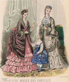 Musée des Familles 1873. The dress on the left looks polonaise-y.
