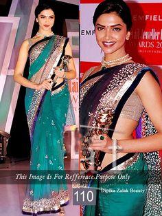 Get #DeepikaPadukone blue net #saree online from #craftshopsindia   #bollywoodsaree #replicasaree #bollywoodfashion