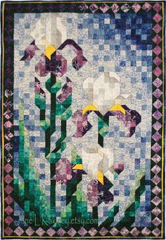 Quilt Pattern  PDF  Art Quilt  Iris Mosaic Quilt by JaneLKakaley, $10.00