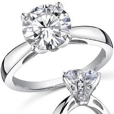 Round Moissanite Engagement Ring With Pave Style Basket