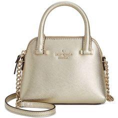 kate spade new york Cedar Street Mini Maise Bag ($198) ❤ liked on Polyvore featuring bags, handbags, shoulder bags, gold, gold handbag, gold purse, mini purse, kate spade purses and miniature purse