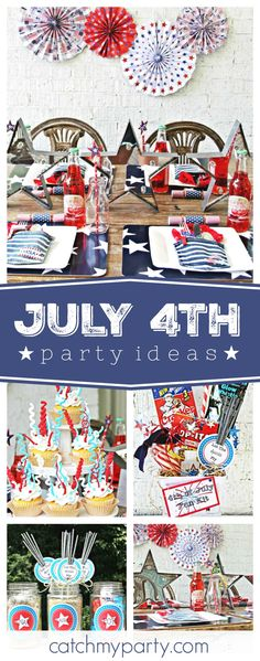Happy July 4th!! Let The Sparks Fly with this amazing party!! Love the cupcakes! See more party ideas and share yours at CatchMyParty.com