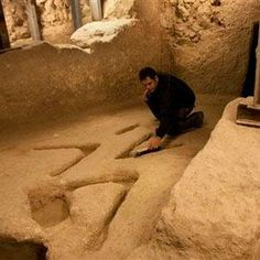 """During an excavation in the City of David, Jerusalem archaeologists encountered mysterious stone signs that are thousands of years old. When complex of rooms carved into the bedrock were discovered they also uncovered three """"V"""" shapes cut next to each other into the limestone floor of one of the rooms, about 2 inches (5 centimeters) deep and 20 inches (50 centimeters) long. Scientists have not come closer to deciphering the true meaning of these mysterious ancient signs."""