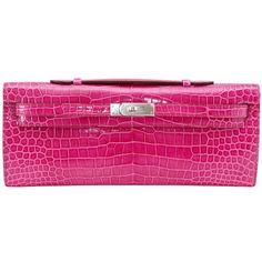38665bd0948 HERMES Clutch KELLY CUT coveted Fuschia Pink Porosus Crocodile ❤ liked on  Polyvore Hermes Clutch