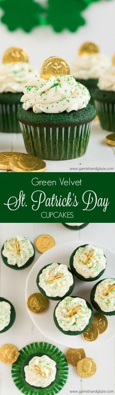 Get in the St. Patricks Day Spirit with these yummy Green Velvet St. Patricks Day Cupcakes topped with Cream Cheese Frosting. #holliday,#hollidays,#holliday_crafts,#holliday_grainger