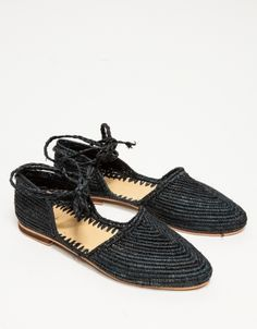 Raffia Flat in Black
