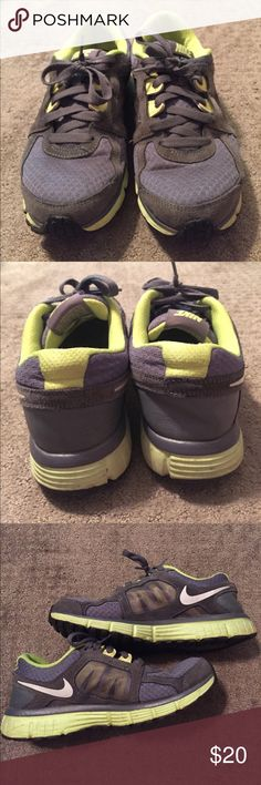 Nike Duel Fusion ST2 {8.5} Gently used, Nike dual fusion running shoes. They are gray with a neon green color. Nike Shoes Athletic Shoes