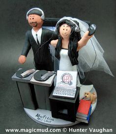 Hispanic Groom Marries American Bride Wedding Cake Topper      Wedding Cake Topper for a DJ, custom created for you! Perfect for the marriage of a Disc Jockey Groom and his Bride!    $235   #magicmud   1 800 231 9814   www.magicmud.com