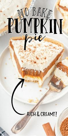 This No Bake Pumpkin Pie is a great twist on the classic pumpkin pie. It features a graham cracker crust filled with perfect layers of cream cheese, pumpkin and Cool Whip. Plus, since it's no bake, it's quick and easy to make. Best Pumpkin Pie, No Bake Pumpkin Pie, Cheese Pumpkin, Pumpkin Cream Cheeses, Pumpkin Pie Recipes, Baked Pumpkin, Pumpkin Dessert, Lemon Dessert Recipes, Fun Baking Recipes