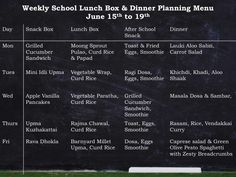 Weekly Menu of Breakfast, Lunch Box & Dinner with Recipes & Ideas (July to Weekly Menu Planners, Meal Planner, Monthly Menu Planner, Planning Menu, Dinner Box, Vegan Meal Plans, Lunch Box Recipes, Breakfast Lunch Dinner, Healthy Recipes
