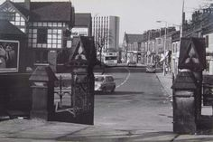 A photograph of Old Market Street taken from the gate of the lower churchyard at St. Peters, Blackley Village.