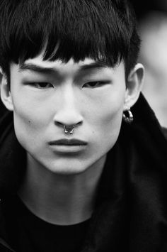 Seasons are Changing! Winter Arrives at Armani Exchange - Armani Exchange model Sang Woo Kim delivers a close-up, showcasing his septum piercing. Human Reference, Photo Reference, Portrait Inspiration, Character Inspiration, Kim Sang Woo, Piskel Art, Septum Piercings, Armani Exchange, Poses References